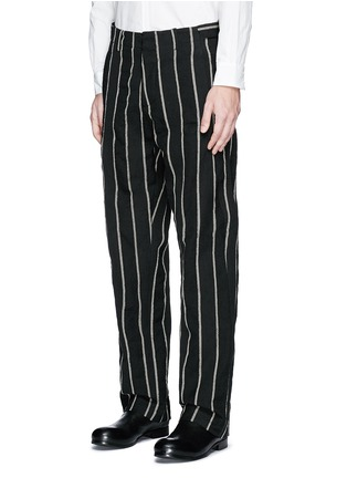 Front View - Click To Enlarge - UMA WANG  - 'Vittorio' chalk stripe wool-linen wide leg pants