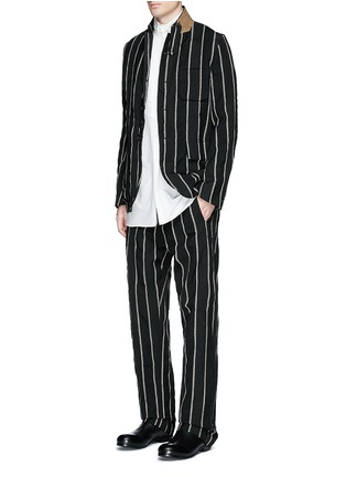 Figure View - Click To Enlarge - UMA WANG  - 'Vittorio' chalk stripe wool-linen wide leg pants