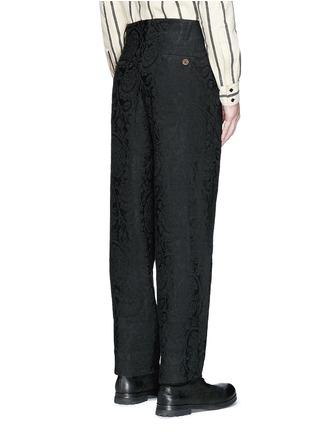 Back View - Click To Enlarge - Uma Wang  - 'Osaka' floral jacquard cotton-linen-silk curved pants