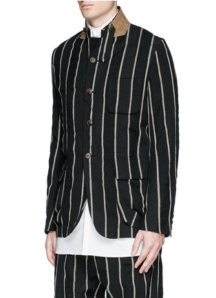 Front View - Click To Enlarge - Uma Wang  - 'Newspaper' chalk stripe wool-linen jacket