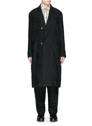 Main View - Click To Enlarge - Uma Wang  - 'Spolvero' floral jacquard cotton-linen-silk coat