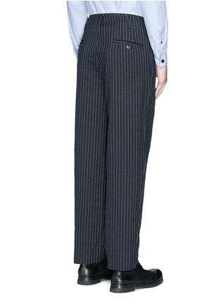 Back View - Click To Enlarge - Uma Wang  - 'Osaka' stripe cotton-wool curved pants