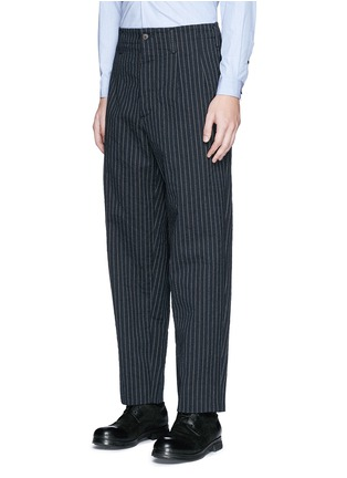 Front View - Click To Enlarge - Uma Wang  - 'Osaka' stripe cotton-wool curved pants