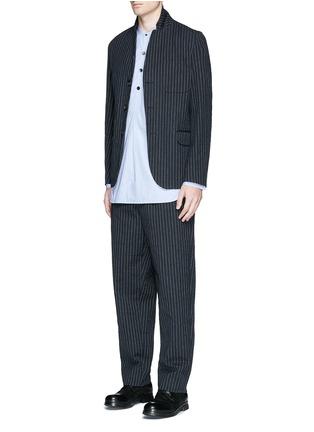 Figure View - Click To Enlarge - Uma Wang  - 'Osaka' stripe cotton-wool curved pants