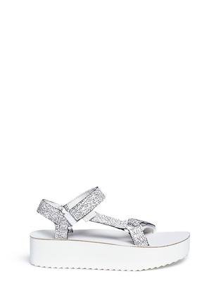 Main View - Click To Enlarge - Teva - 'Flatform Universal Crackle' leather sandals