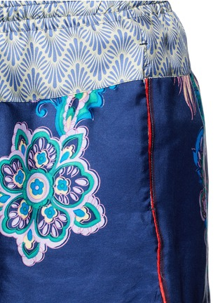 Detail View - Click To Enlarge - IBRIGU - One of a kind print drawstring silk shorts