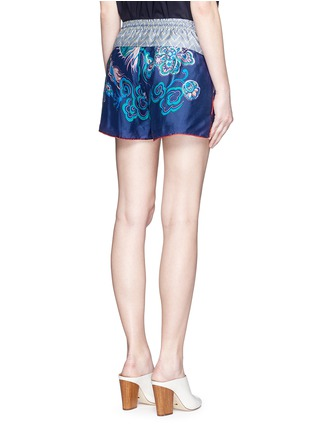 Back View - Click To Enlarge - IBRIGU - One of a kind print drawstring silk shorts