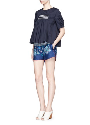 Figure View - Click To Enlarge - IBRIGU - One of a kind print drawstring silk shorts