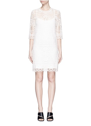 Main View - Click To Enlarge - Mo&Co. - Geometric floral lace dress