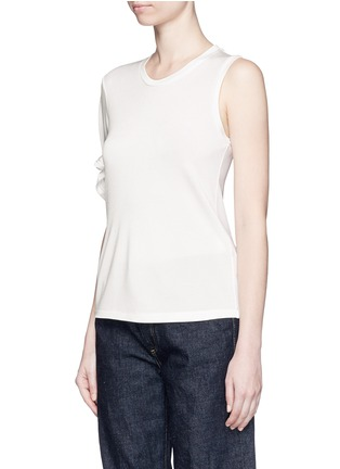Front View - Click To Enlarge - Mo&Co. - Knotted sleeve piqué T-shirt