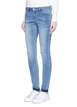 Front View - Click To Enlarge - Mo&Co. - Ripped knee frayed cuff skinny jeans