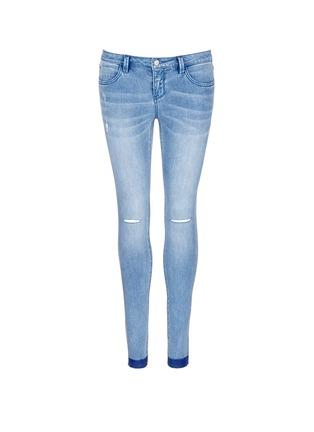 Main View - Click To Enlarge - Mo&Co. - Ripped knee frayed cuff skinny jeans