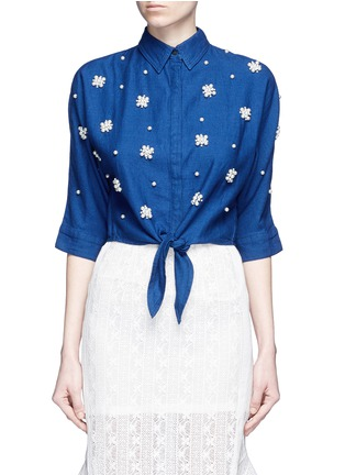 Main View - Click To Enlarge - Mo&Co. - Faux pearl embellished tie front denim shirt