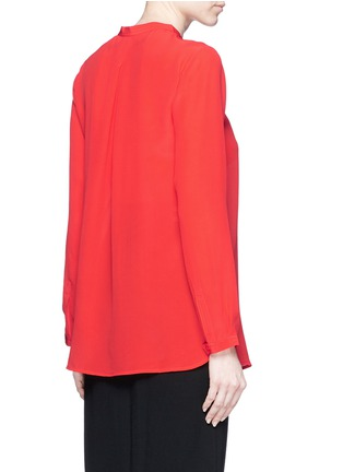 Back View - Click To Enlarge - Mo&Co. - Band collar silk crepe de Chine shirt