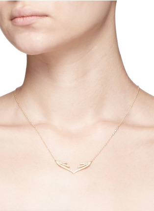 Detail View - Click To Enlarge - Phyne By Paige Novick - 'Stella' 18k gold diamond pavé open wing necklace