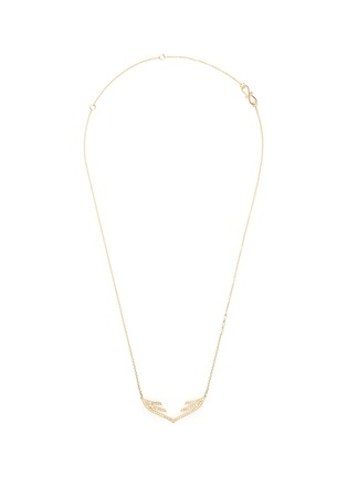 Main View - Click To Enlarge - Phyne By Paige Novick - 'Stella' 18k gold diamond pavé open wing necklace
