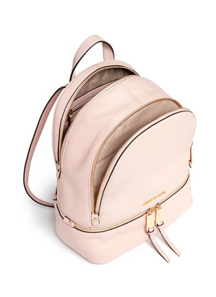 Detail View - Click To Enlarge - Michael Kors - 'Rhea' small 18k gold-plated metal leather backpack