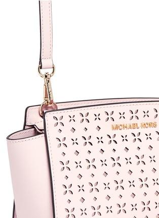 Detail View - Click To Enlarge - Michael Kors - 'Selma' medium perforated leather messenger bag