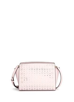 Back View - Click To Enlarge - Michael Kors - 'Selma' medium perforated leather messenger bag