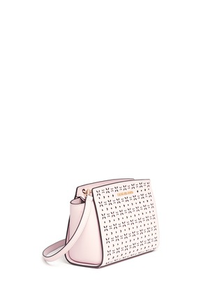 Front View - Click To Enlarge - Michael Kors - 'Selma' medium perforated leather messenger bag