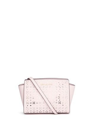 Main View - Click To Enlarge - Michael Kors - 'Selma' medium perforated leather messenger bag