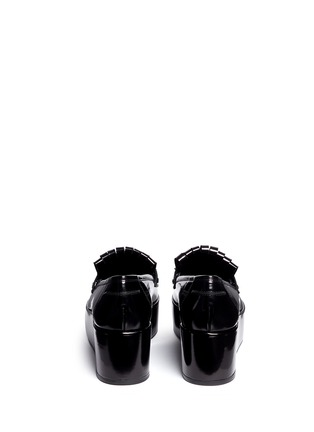 Back View - Click To Enlarge - STUART WEITZMAN - 'BMOC' kiltie flap patent leather platform loafers
