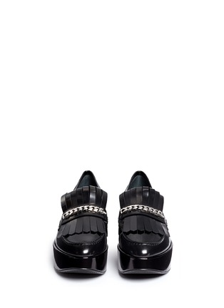 Front View - Click To Enlarge - STUART WEITZMAN - 'BMOC' kiltie flap patent leather platform loafers