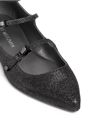 Detail View - Click To Enlarge - Stuart Weitzman - 'Flippy' glitter mesh Mary Jane flats