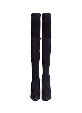 Front View - Click To Enlarge - Stuart Weitzman - 'Highland' stretch suede thigh high boots