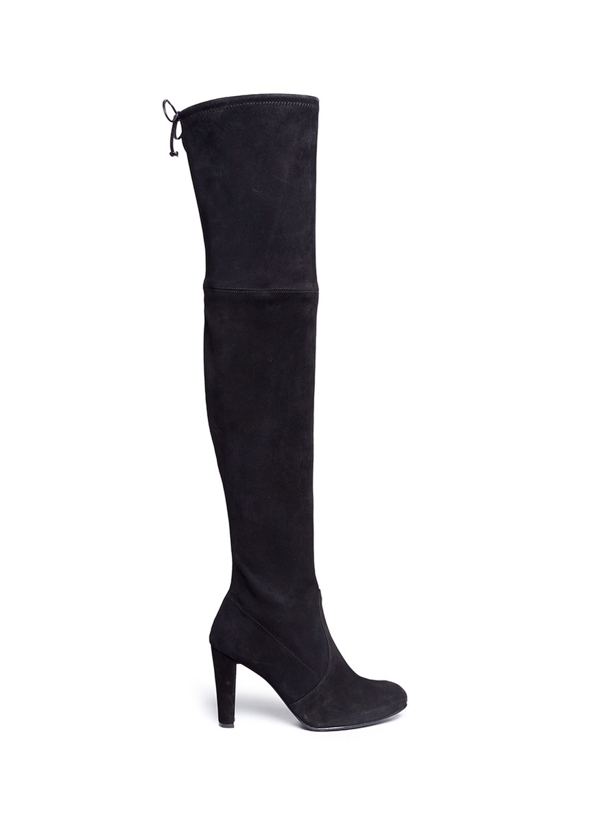 Highland stretch suede thigh high boots by Stuart Weitzman
