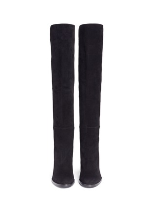 Front View - Click To Enlarge - STUART WEITZMAN - 'Hijack' elastic back suede boots