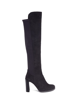 Main View - Click To Enlarge - STUART WEITZMAN - 'Hijack' elastic back suede boots