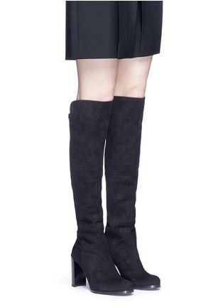Figure View - Click To Enlarge - STUART WEITZMAN - 'Hijack' elastic back suede boots
