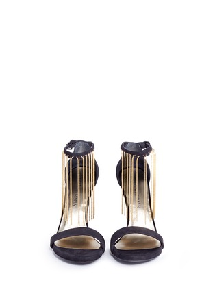 Front View - Click To Enlarge - Stuart Weitzman - 'Link' fringe chain suede sandals