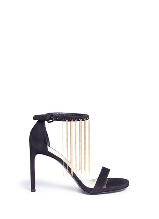 Main View - Click To Enlarge - Stuart Weitzman - 'Link' fringe chain suede sandals