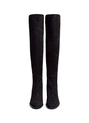 Front View - Click To Enlarge - STUART WEITZMAN - 'Lowjack' elastic back suede boots