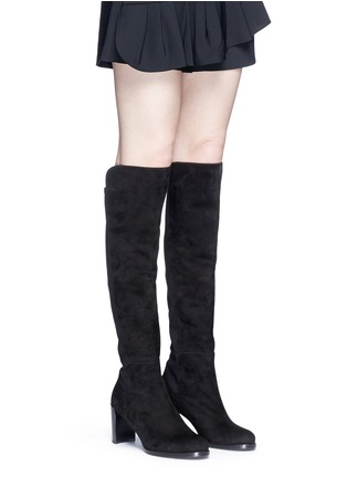 Figure View - Click To Enlarge - STUART WEITZMAN - 'Lowjack' elastic back suede boots
