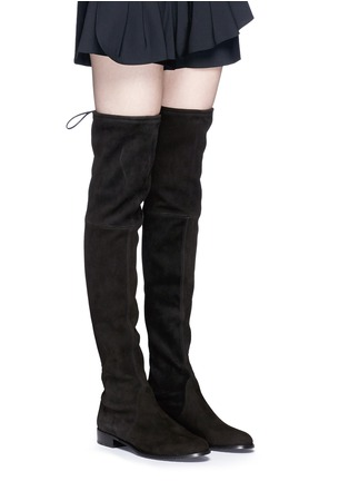 Figure View - Click To Enlarge - Stuart Weitzman - 'Lowland' stretch suede thigh high boots
