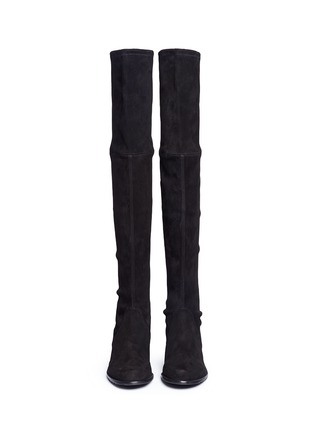 Front View - Click To Enlarge - STUART WEITZMAN - 'Midland' stretch suede thigh high boots
