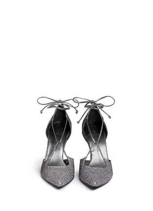 Front View - Click To Enlarge - Stuart Weitzman - 'On A String' lace-up glitter d'Orsay pumps