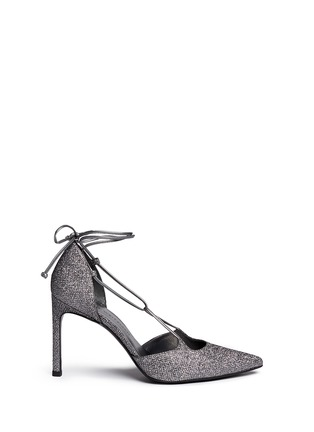 Main View - Click To Enlarge - Stuart Weitzman - 'On A String' lace-up glitter d'Orsay pumps
