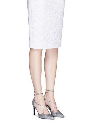 Figure View - Click To Enlarge - Stuart Weitzman - 'On A String' lace-up glitter d'Orsay pumps