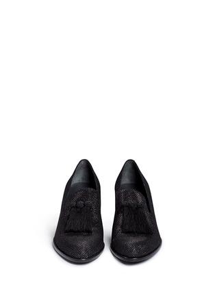 Front View - Click To Enlarge - Stuart Weitzman - 'Razmataz' tassel glitter mesh loafers
