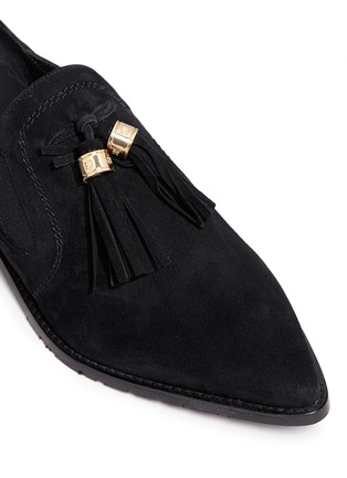 Detail View - Click To Enlarge - Stuart Weitzman - 'Sprouts' tassel suede loafer slip-ons