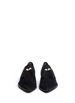 Front View - Click To Enlarge - Stuart Weitzman - 'Sprouts' tassel suede loafer slip-ons