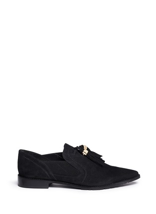 Main View - Click To Enlarge - Stuart Weitzman - 'Sprouts' tassel suede loafer slip-ons