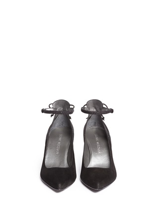 Front View - Click To Enlarge - Stuart Weitzman - 'Take A Bow' contrast strap suede pumps
