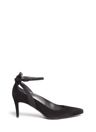 Main View - Click To Enlarge - Stuart Weitzman - 'Take A Bow' contrast strap suede pumps