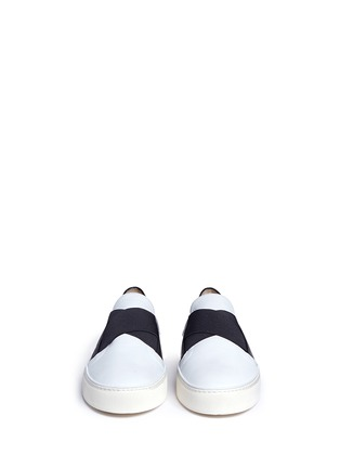 Front View - Click To Enlarge - Stuart Weitzman - 'Flex' elastic strap colourblock leather skate slip-ons