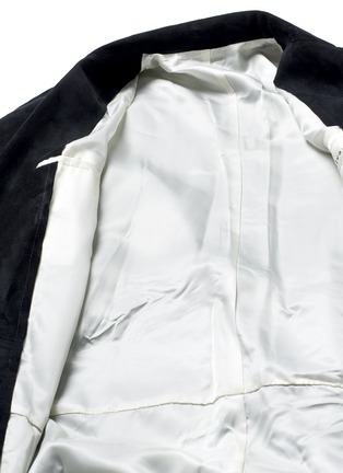 - sulvam - Raw edge lining belted suede coat